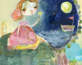 Magic Sea, Magic Moon - art print by Mindy Lacefield