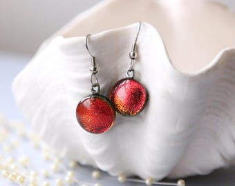 Earrings Round Red Drop Dangle Dichroic Glass, Jewelry, Getglassy 00141