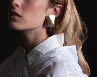 silver gold patchwork square earrings / mosaic statement earrings / geometric earrings / 1085a