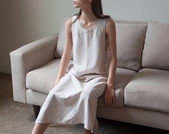 beige jumper dress / midi maxi dress / s / 1100d /