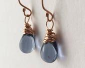 Inky Blue Rose Gold Earrings. Petite Teardrop Earrings. Rose Gold Filled Earrings. Briolette Wire Wrapped Earrings. Rose Gold Stud Earrings