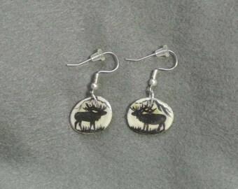 Antler Elk Earrings-Handmade, Hand Painted