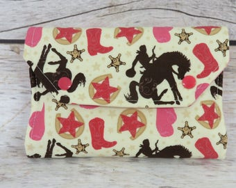 Cowgirls Boots Fabric | Crayon Wallet Stowaway Take Along Holder  | Organizer | Keeper | Art Kit | Personalized Name Tag Applique Available