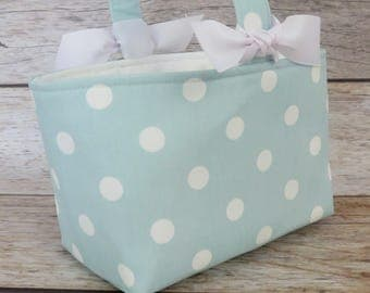 READY TO SHIP - Easter Fabric Basket Bin Bucket Candy Egg Hunt Storage Container - White Dots on Sea Mist Blue Fabric