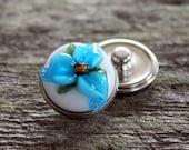 Floral Fantasy Snap Button White Aqua Blue