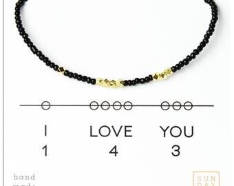 I Love You 143, Valentines Day, Bracelet - Black