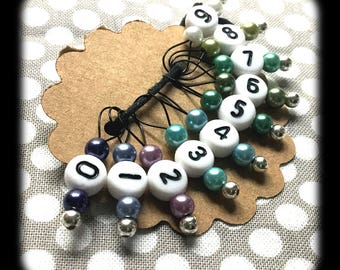 Snag Free Stitch Markers - Small Set of 10 - K47 - Purple Aqua and Blue with Numbers - Fits up to Size US 8 (5mm) Knitting Needles
