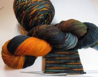 Hand Painted Superwash Ultra Merino Sock Fingering Yarn -- Meanwhile At The Duck Blind