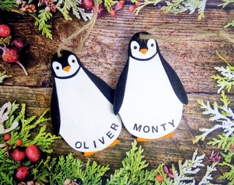 Wooden penguin fun personalized Christmas ornament boy / girl custom baby / child name tree decoration. Black, white, pink