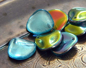Aqua Sunset (10) -Czech Glass Rose Petals 14x13mm