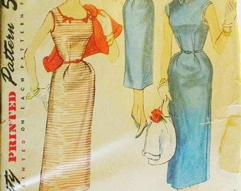 60% OFF SALE 1950s Vintage Sewing Pattern Simplicity 4598 Misses One-Piece Dress & Jacket Pattern Size 14 Bust 32