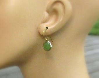 Peridot Glass Gold Earrings, Bali 3 Ball 22kt Vermeil Earwires - August Wedding, Birthday Gift for Her