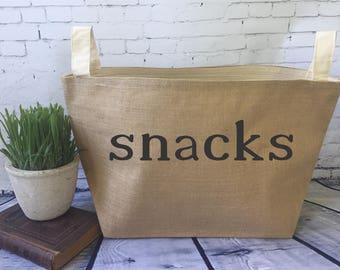 pantry storage burlap bin/ snack bin/ burlap storage basket