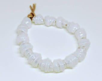 Tiny Opal White Knot Handmade Lampwork Glass Beads - Prima Donna Beads