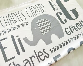 Personalized Elephant Baby Blanket - Boy Elephant Name Blanket - Elephant Receiving Blanket - Swaddling Infant Blanket - Monogram Blanket