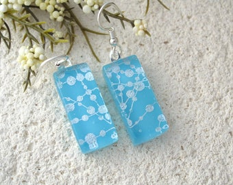 Turquoise Earrings, Blue Silver Earring, Dichroic Earring, Fused Glass Jewelry, Dichroic Jewelry, Dangle Drop Earring, ccvalenzo, 070517e100