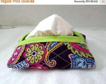 Flash Sale Quilted Tissue Holder - Pocket Size Tissue Cozy - Paisley Groovy Tissue Cover - Purple Lime Paisley Quilted Purse Tissue Holder