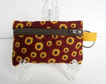 Sunflower Coin Purse - Change Purse - Fall Zip Pouch - Key Chain Coin Purse - Small Zipper Pouch - Sunflower Ear Bud Case