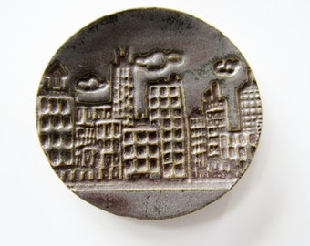 Gift Size City Buildings Clay Ring Dish - Glazed in Chocolate Purple - Urban design