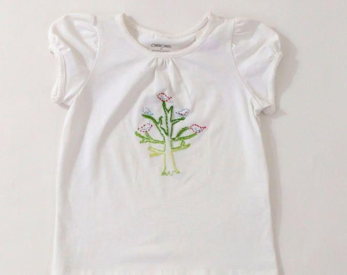 Girls Shirt, Girls Top, Toddler Top, Toddler Tshirt, Toddler Blouse, Girls Blouse, Girls Tshirt Embroidered with Tree & Birds, Size 3T