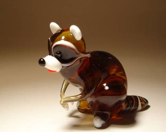 Handmade Blown Glass Art Figurine Animal  Brown and White RACCOON