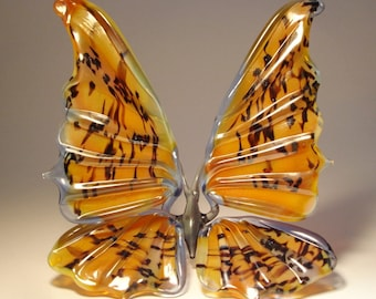 Blown Glass Figurine Art Insect Orange with Black Specs BUTTERFLY