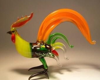 Handmade  Blown Glass Figurine Art Bird Orange and Green ROOSTER Figure with Yellow Neck