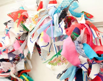 "Rag Wreath - 15"" Spring Door Wreath / Wall Decor / Window Wreath 