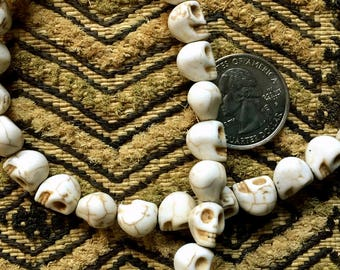 CLOSEOUT: Tiny 8x10mm White Howlite Skull Bead Strand of 40 Beads