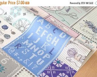 Japanese Fabric Yuwa Let's Knit - pastel mint - 50cm
