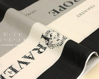 Japanese Fabric Yuwa Suzuko Koseki Voyage - black, grey, cream - 50cm