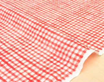 Japanese Fabric Seersucker tiny gingham lawn - red - 50cm