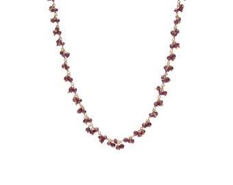Garnet Gemstone Necklace, Garnet Cluster Necklace, Red Stone Necklace, January Necklace, January Birthstone, Gifts for Her