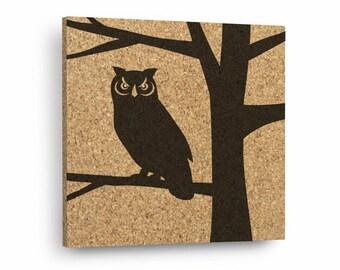 OWL IN TREE Mix & Match Cork Decor Art Tiles Or Kitchen Trivet - Wall DéCork