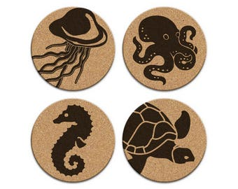 Jellyfish Octopus Seahorse Turtle Nautical Coastal Cork Coaster Set Of 4 Home Decor Barware Decoration