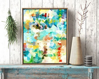 Abstract Watercolor, Canvas Print, Canvas Art, Watercolor Wall Art, Watercolor Art Print, Turquoise Watercolor, Aqua And Yellow