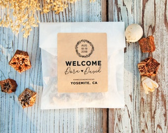 Welcome Bag Stickers - Personalized Wedding Weekend Guest Gift  - DIY Hotel Room Favor Bag - 24 Stickers