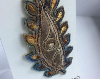 Paisley leafy felt embroidered brooch in fruity summer shades