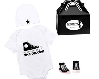 SK8 or Cry Punk Rock Baby Boy Rockstar Kit white onesie sneaker booties hat
