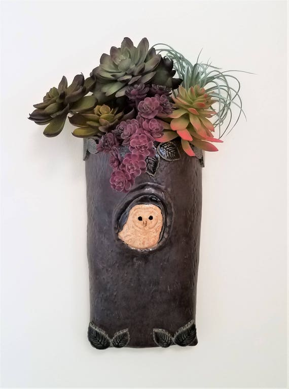 Succulent Planter - Owl Wall Pocket - Farmhouse Decor - Ceramic Wall Pocket - Gift for Owl Lover - Pottery Wall Pocket - Handmade Pottery