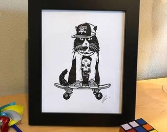 Skater Cat Skateboard 8x10 Black and White Print Wall Art Decor by GIGART