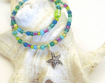 Bohemian Anklet, Starfish anklet, beachy anklets, beaded anklets, beaded ankle bracelet, anklets for women, ocean anklet, beach anklets