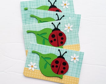 CLEARANCE, Lady Bug Mini Card Gift Enclosure Cards or Tags
