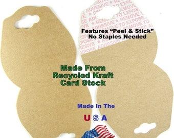 SALE Jewelry Display Card Hang Tag Recycled Kraft Natural Tag Wholesale 500 pcs Fold Over Self Adhesive Hangtag USA Made