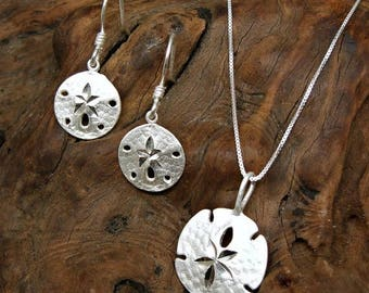 SALE Sand Dollar Sterling Silver Beach Charm Pendant Necklace and Ear Wire Earrings Set no. 2014 - 3574