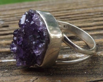 Huge Druzy Amethyst sterling silver ring - size 9.75-one of a kind -psychic power
