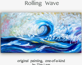 Sale Art, painting, sea painting, Rolling Wave, landscape painting, wall decor canvas, oil painting, abstract painting, Tim Lam, 48x24