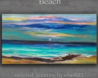 Art Oil painting abstract art sea art large Beach art landscape painting modern home wall art canvas art wall deco, by Tim Lam 48x24