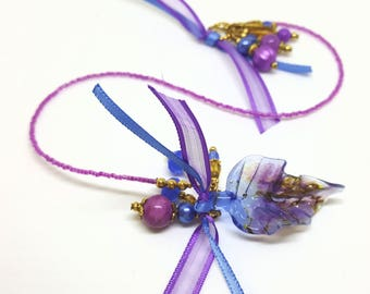 Beaded Bookmark Book Thong Glass Lampwork Bead Leaf Transparent Blue Purple Amber Book Lover Reader Gift Free Ship