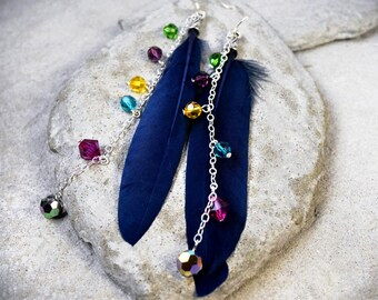 Feather Earrings - Extra Long Earrings - Crystal Earrings - Colorful Earrings - Bohemian Jewelry - Rainbow Earrings - Feather Jewelry